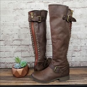 Steve Madden Brown Leather Riding Boots